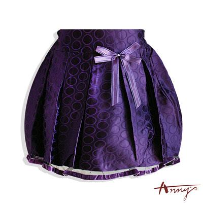 Anny華麗圈圈網紗裙襬短裙*3249紫