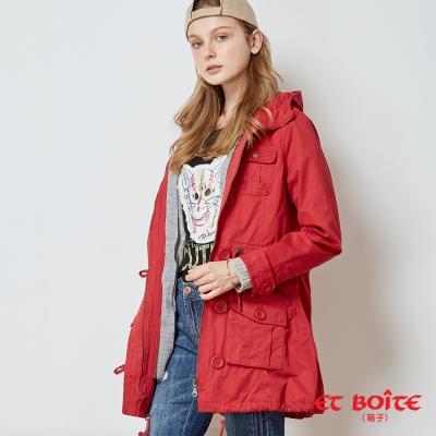ETBOITE 箱子 BLUE WAY 兩件式附毛衣外套連帽軍裝外套-紅