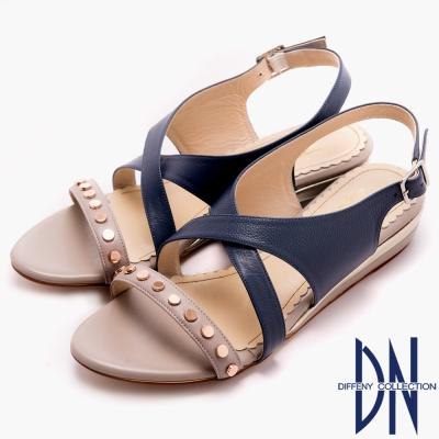 DN 無印好感 簡單鑲釘素面交叉平底涼鞋~藍