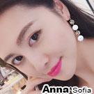 AnnaSofia 線繞圈網彩貝 中大型耳針耳環(金系)