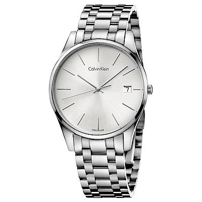 Calvin Klein 卓越菁英藍寶石玻璃石英腕錶(K4N21146)-銀色/40mm