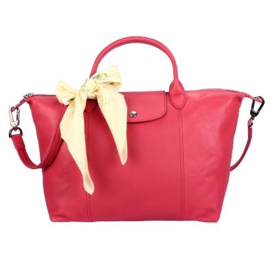 Longchamp Le Pliage Cuir小羊皮短把折疊中型水餃包-牡丹粉(贈帕巾)