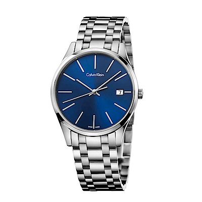 CK CALVIN KLEIN Time 時光系列時尚藍手錶-36mm