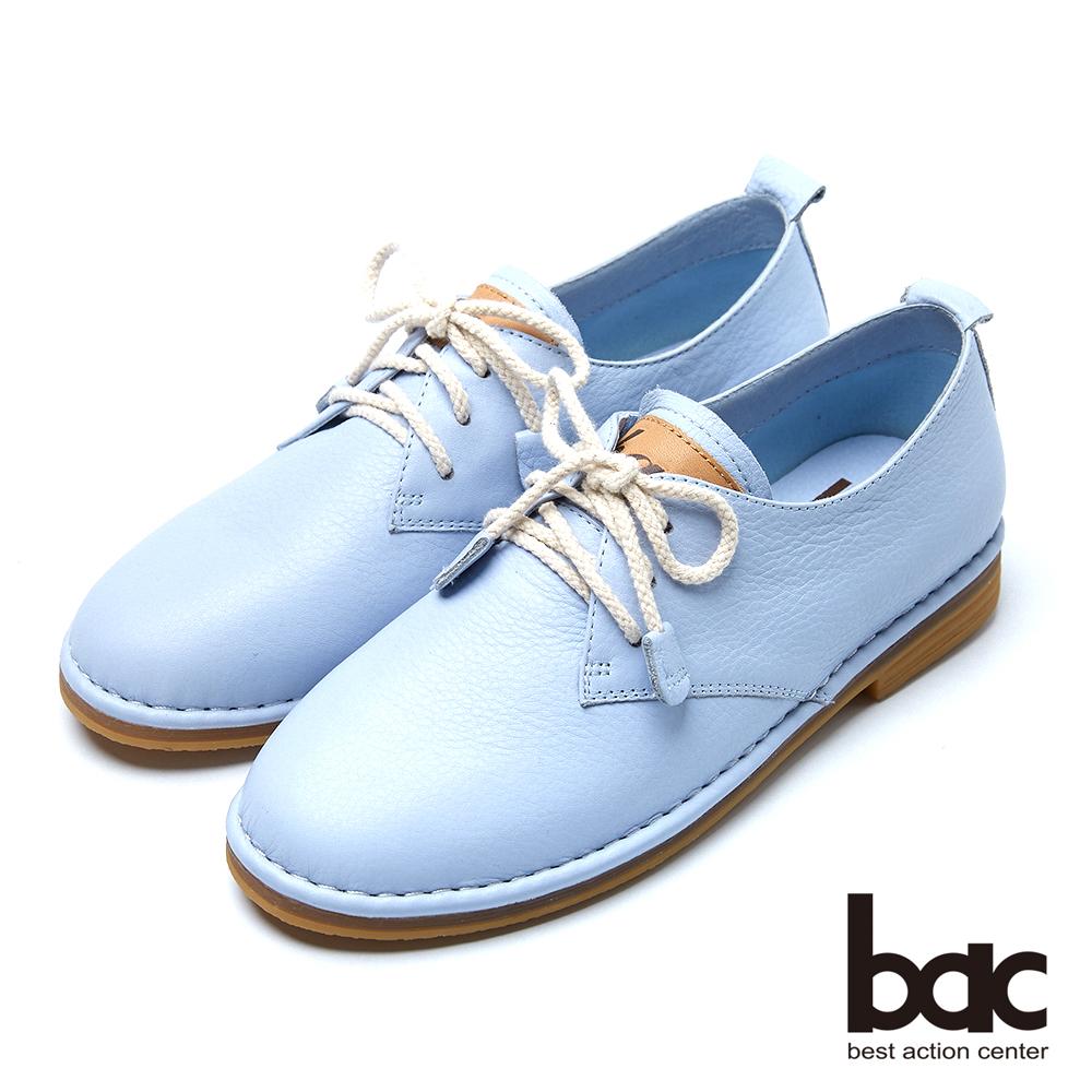 bac樂活時尚 俏麗綁帶牛皮休閒鞋-藍
