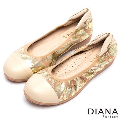DIANA 奢華貴婦--時尚質感金箔紋理真皮平底鞋-金