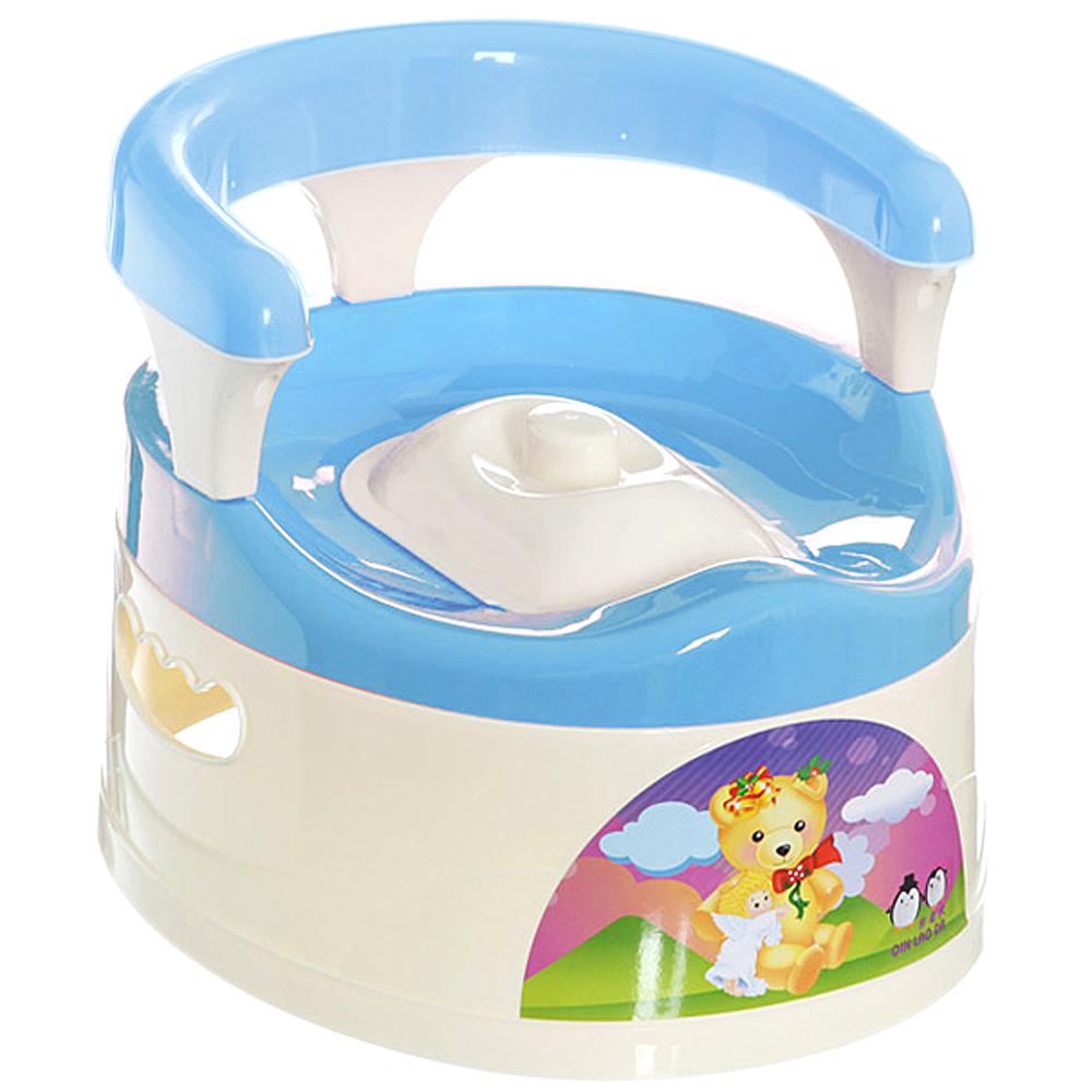 貝比 抽屜式附椅背幼兒學便器-藍色