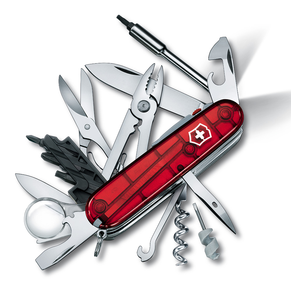 VICTORINOX 瑞士維氏36用網際工具白光LED萬用瑞士刀-透明紅