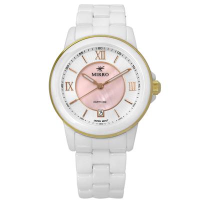 MIRRO 米羅 羅馬風情白蝶貝面藍寶石水晶玻璃日期陶瓷手錶- 粉x白/35mm