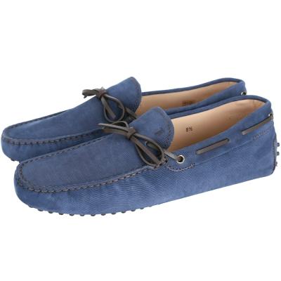 TOD'S Gommino Driving 麂皮燈芯絨綁帶豆豆休閒鞋(男/藍色)