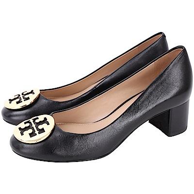 TORY BURCH Hope Pumps 雙T金屬盾牌皮革粗跟鞋(黑色)