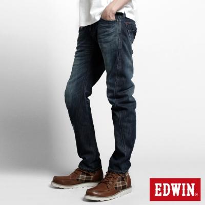 EDWIN-大尺碼窄直筒W-F-EF迷彩保溫褲-男-中古藍