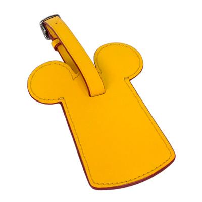 COACHXDISNEY聯名款黃色全皮MICKEY耳朵行李掛牌