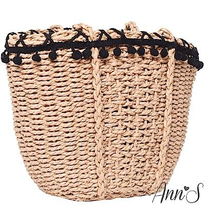 Ann'S渡假女神-滾邊黑色小毛球肩背手工竹籃包-黑