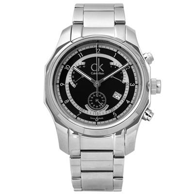 CK 日系時尚獨特逆跳式三眼計時不鏽鋼手錶 - 黑色 /42mm