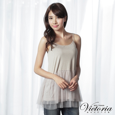 Victoria 雪紡膨膨紗背心-女-卡其