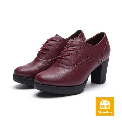鞋櫃ShoeBox 踝靴-綁帶防水台高跟踝靴-酒紅