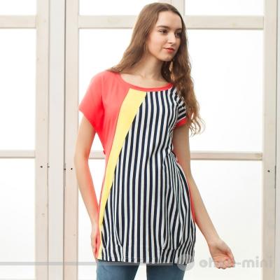 【ohoh-mini 孕婦裝】獨特不對稱剪裁拼接圓領上衣