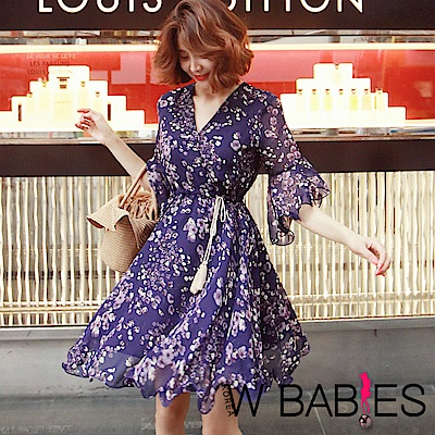 正韓 花紋交疊V領流蘇繩荷葉邊洋裝 (紫色)-W BABIES