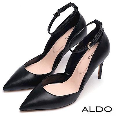 ALDO 原色方形釦帶繫踝尖頭高跟鞋~尊爵黑色