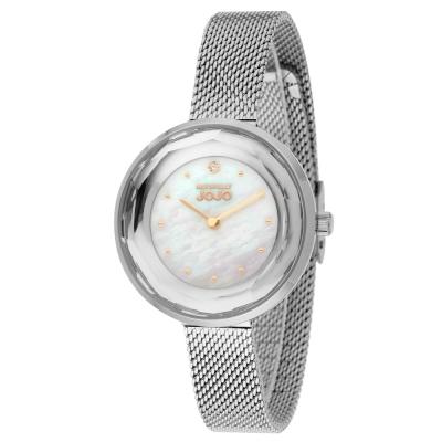 NATURALLY JOJO 切割鑽石復古米蘭手錶~銀色 34mm