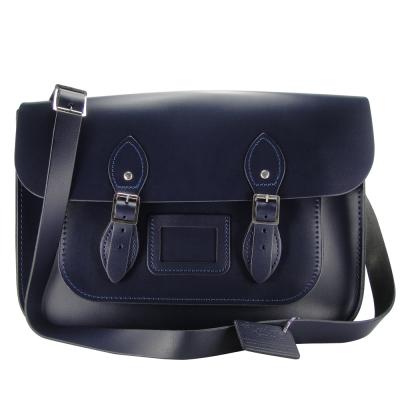 The Leather Satchel 英國手工牛皮劍橋包 肩背 側背包 湖泊藍 14吋