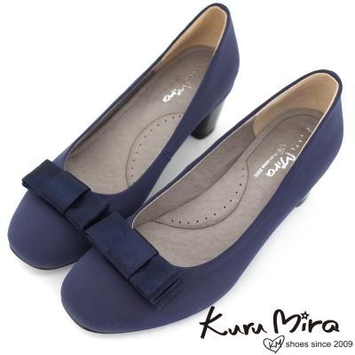 Kuru-Mira-MIT緞面優雅方頭蝴蝶結跟鞋