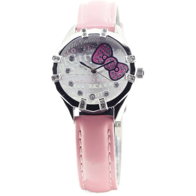 HELLO KITTY 凱蒂貓 晶鑽蝴蝶結腕錶-30mm
