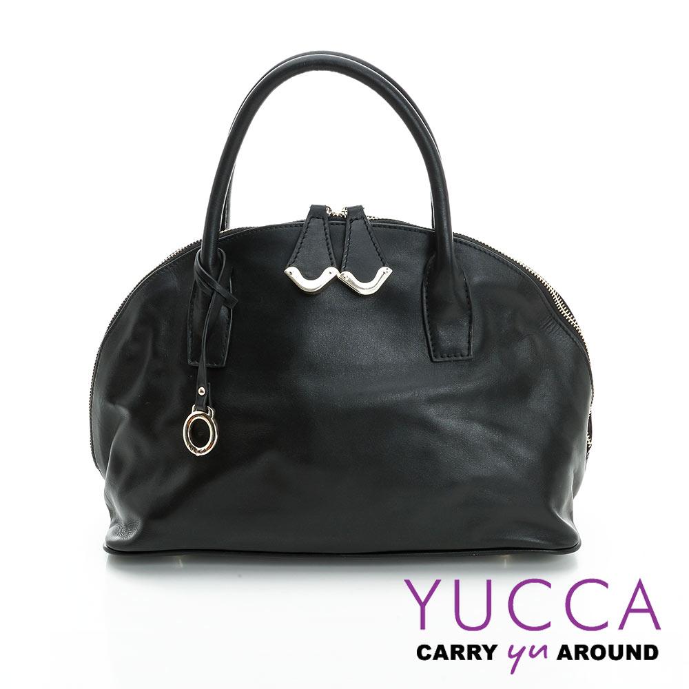 YUCCA摩登牛皮貝殼手提側肩背包-黑色-D0090001C60
