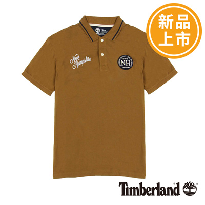 Timberland-男款土黃色英文刺繡布章短袖P