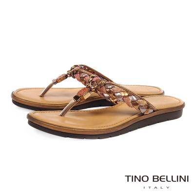 Tino Bellini 義大利進口典雅麻花飾釦夾腳拖鞋 _古銅棕