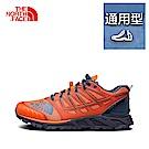 The North Face北面男款橘藍色吸濕排汗跑步鞋