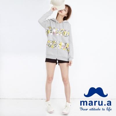 maru-a麻洛野-LOGO翹鬍拼布後鬆緊短褲