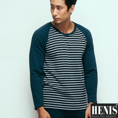 長袖上衣 時尚型男速暖絨彈性條紋圓領保暖衫 2件組 HENIS