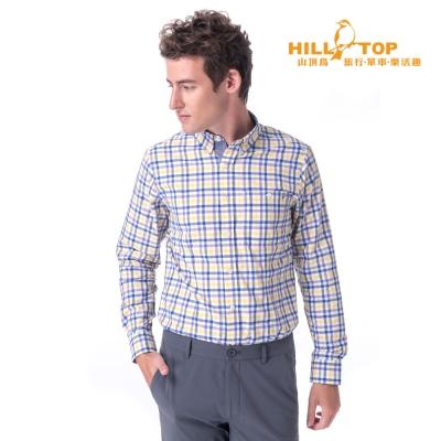 【hilltop山頂鳥】男款吸濕排汗抗UV長袖襯衫S05M60黃深藍格