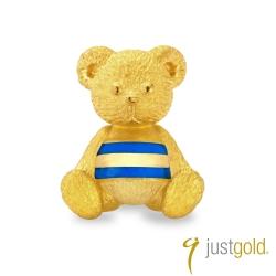 鎮金店Just Gold 黃金耳環單耳 繽紛派對 條紋英式小熊