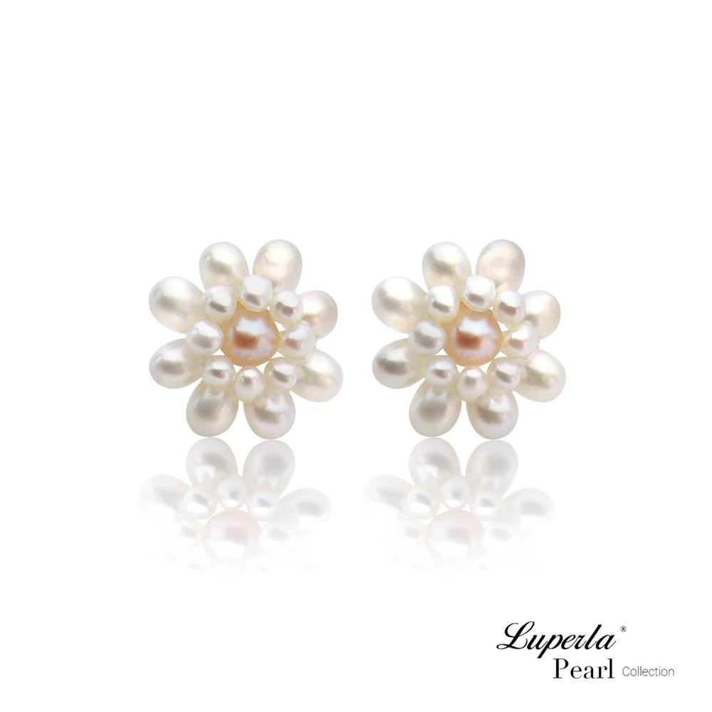 大東山珠寶 天然珍珠耳環 法式女伶歐美古典編織珠寶