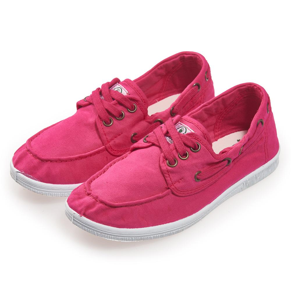 (女)Natural World 西班牙休閒鞋 素色3孔綁帶款*桃紅色