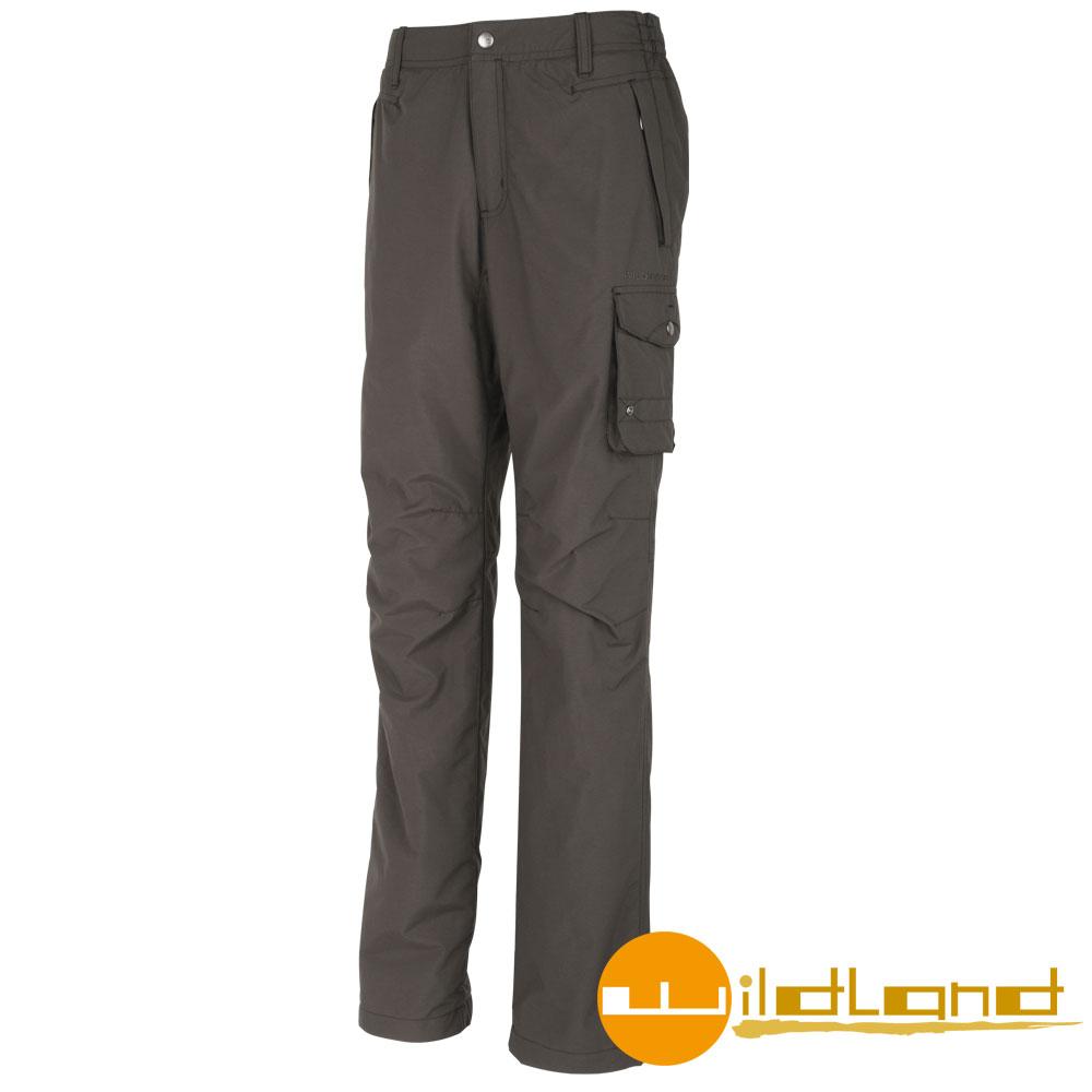 【Wildland 荒野】0A02308 男 防潑水防風保暖長褲 (63深卡其)