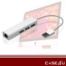 [CASE4U] Mac 轉接線 (USB2.0 高速傳輸網路線 與USB三孔)