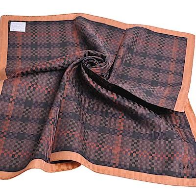 DAKS 棉絲混紡品牌格紋圖騰字母LOGO刺繡帕領巾(大/咖啡系)