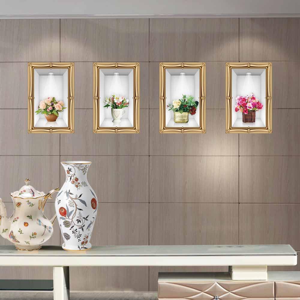創意生活系列-仿真花瓶立體裝飾貼 大尺寸高級創意壁貼 / 牆貼E-019