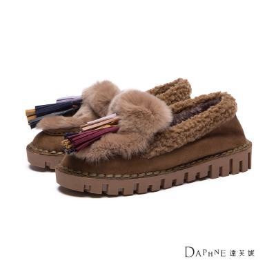 達芙妮DAPHNE 平底鞋-多色流蘇麂皮鋪毛莫卡辛鞋-棕