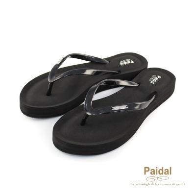Paidal 氣墊美型夾腳拖鞋-黑
