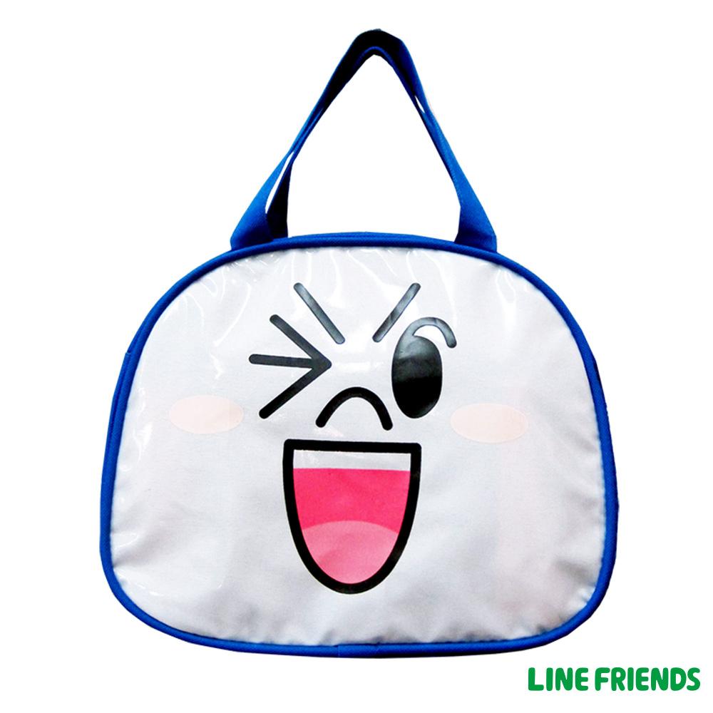 【LINE FRIENDS】造型便當袋(藍_饅頭人)