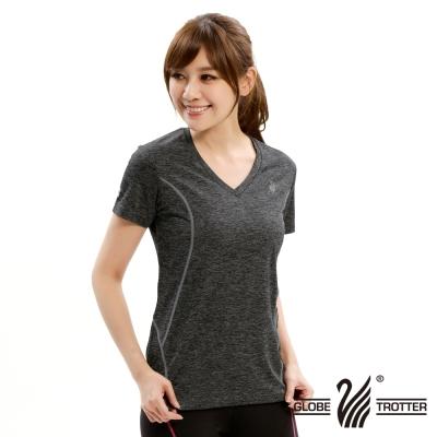 【遊遍天下】女款彈性吸排速乾V領衫GS20006黑色
