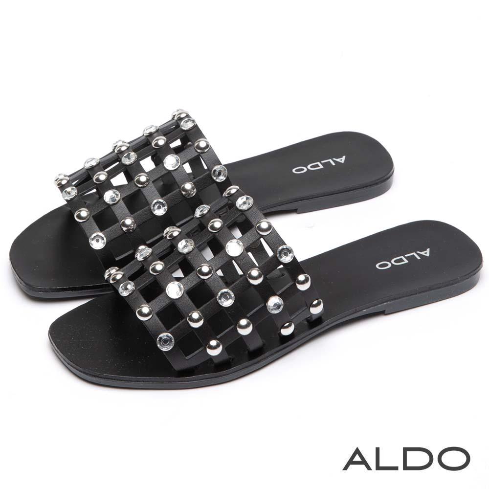 ALDO 原色真皮幾何方格水鑽圓珠涼拖鞋~尊爵黑色