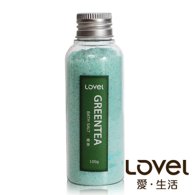 Lovel 天然井鹽/香氛沐浴鹽100g5入組(清新綠茶)