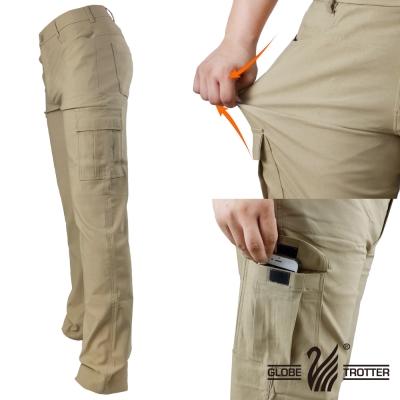 【遊遍天下】多口袋款修身彈力時尚休閒長褲P136卡其