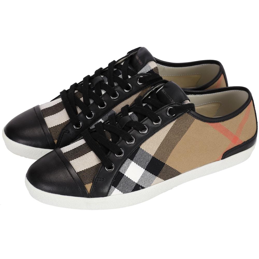 BURBERRY 經典格紋拼接綁帶休閒鞋(黑色)