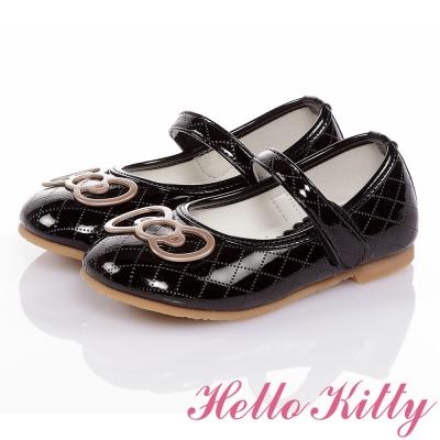 HelloKitty 高級手工超纖皮輕量減壓娃娃童鞋-黑色